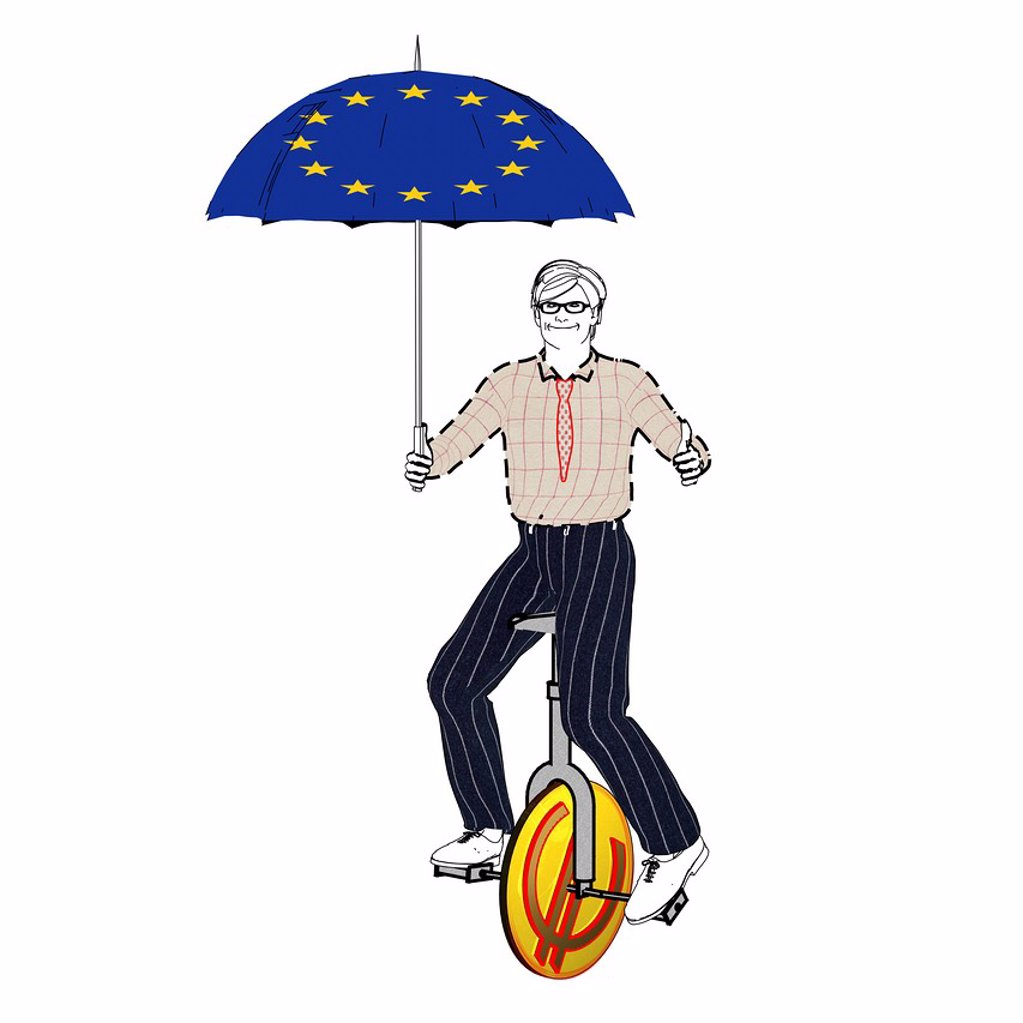 Stock Photo: 1848-615290 Man riding a unicycle with an euro symbol, holding an umbrella with European stars, symbolic image for stockbroker, illustration