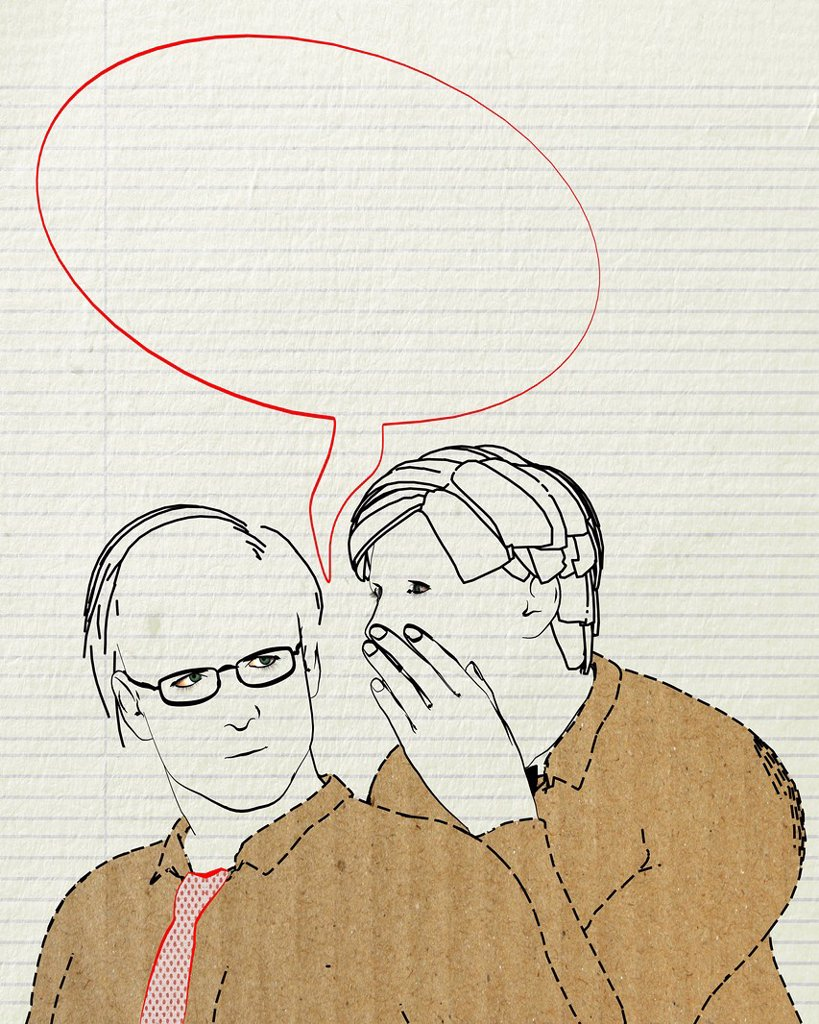 Stock Photo: 1848-615544 Colleagues whispering, blank speech bubble, symbolic image for bullying, illustration