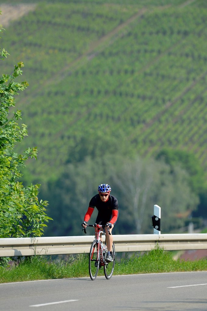 Cyclist riding a high_quality carbon road bike, Weinstadt, Baden_Wuerttemberg, Germany, Europe : Stock Photo