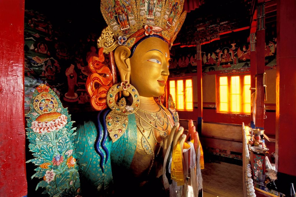 Stock Photo: 1848-615969 Buddha statue, Maitreya, Tikse, Thiksey or Thikse Yellow Hat Monastery, Ladakh, Jammu and Kashmir, Indian Himalayas, North India, India, Asia
