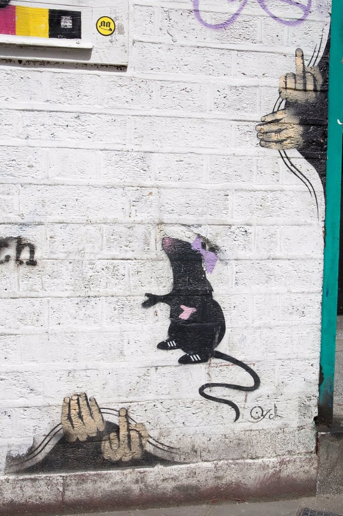 Stock Photo: 1848-616130 Graffiti by Banksy or Banksy_style, London, England, United Kingdom, Europe, PublicGround