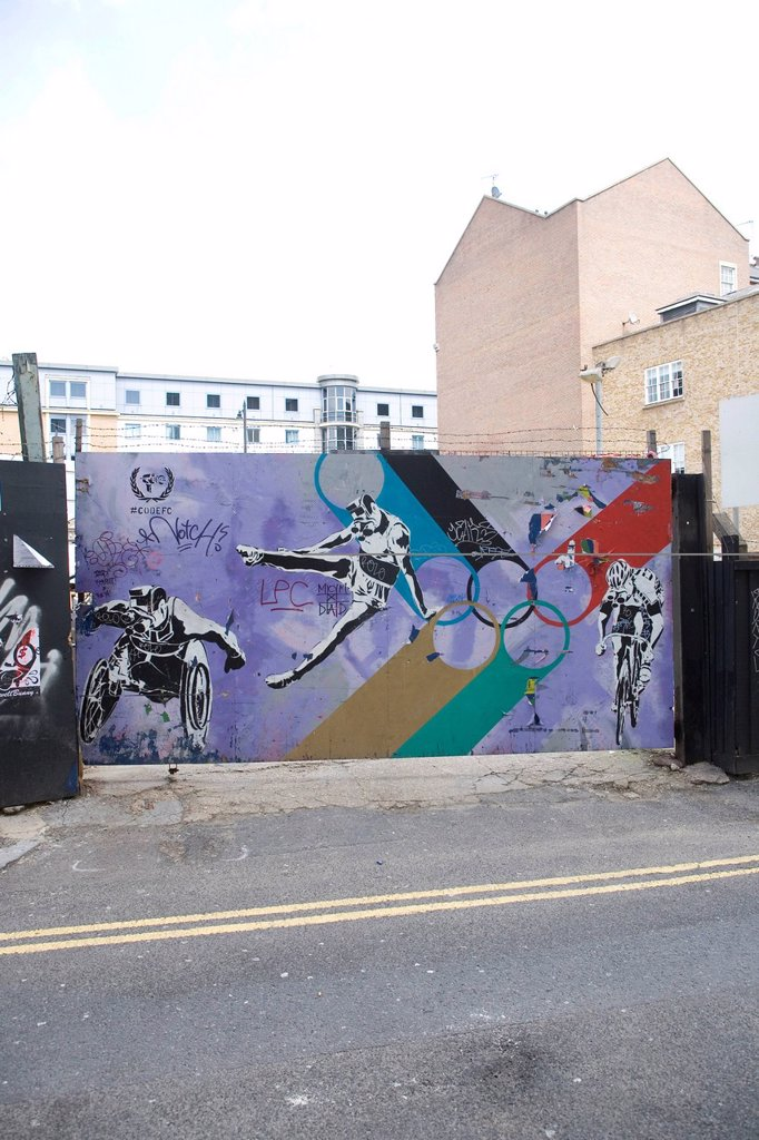 Graffiti by Code FC, the 2012 Olympics, Paralympics, London, England, United Kingdom, Europe, PublicGround : Stock Photo