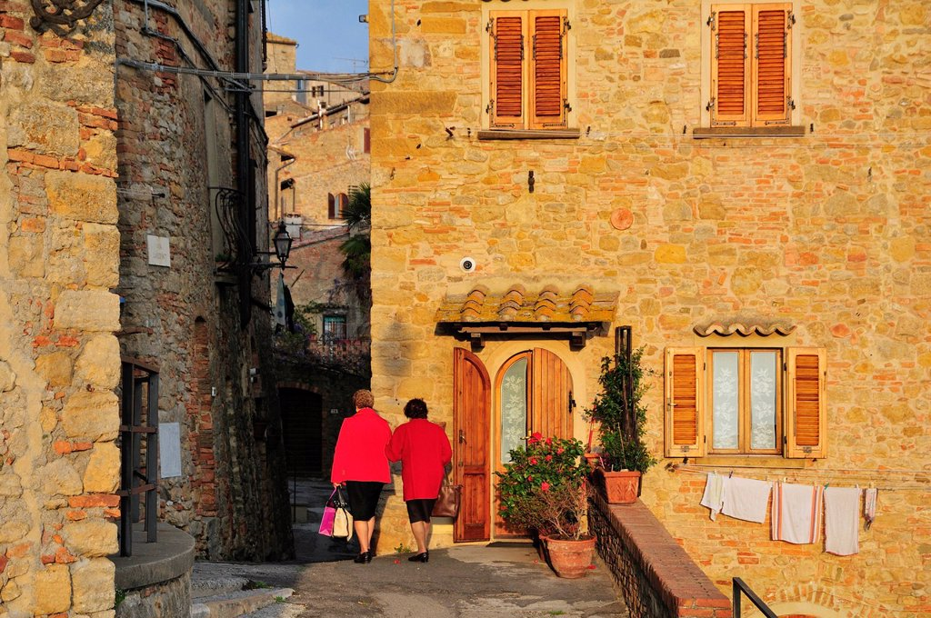 Stock Photo: 1848-616505 Old ladies in the historic district, Volterra, Tuscany, Italy, Europe