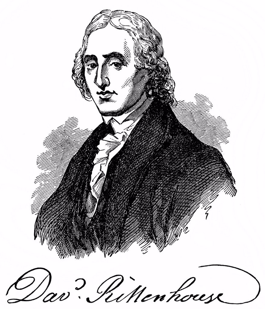 Stock Photo: 1848-616518 Historical drawing from the U.S. history of the 18th century, portrait of David Rittenhouse, 1732 _ 1796, an American astronomer, mathematician and first director of the United States Mint