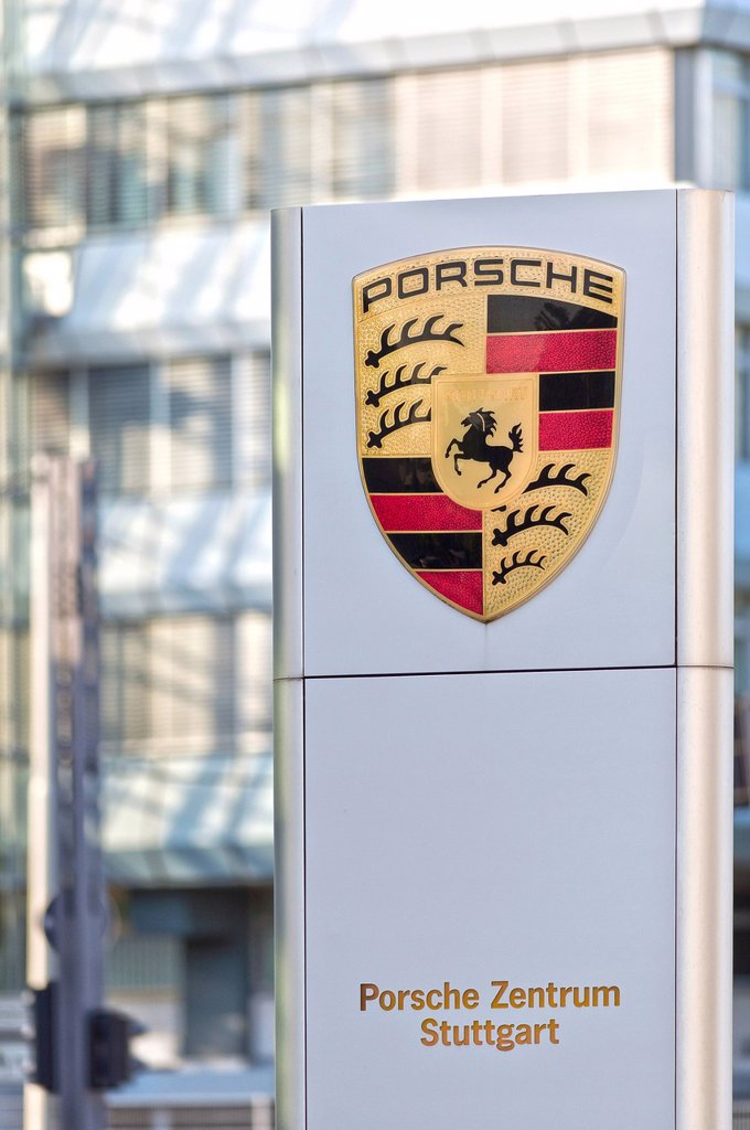 Stock Photo: 1848-616763 Board with the Porsche company logo, Porsche Centre, factory building, Stuttgart_Zuffenhausen, Baden_Wuerttemberg, Germany, Europe
