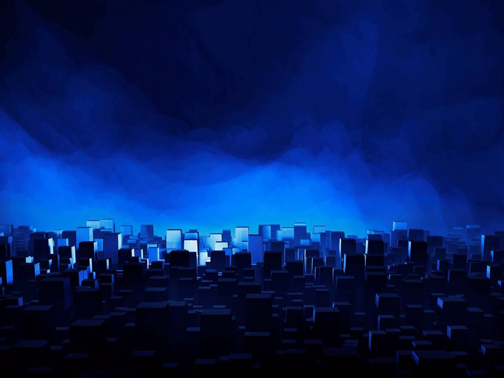Stock Photo: 1848-616884 Abstract skyline of a large city against a blue, hazy night sky, 3D illustration