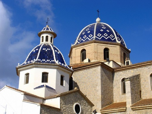The wellknown church La Mare de Deu del Consol, Altea, Spain : Stock Photo