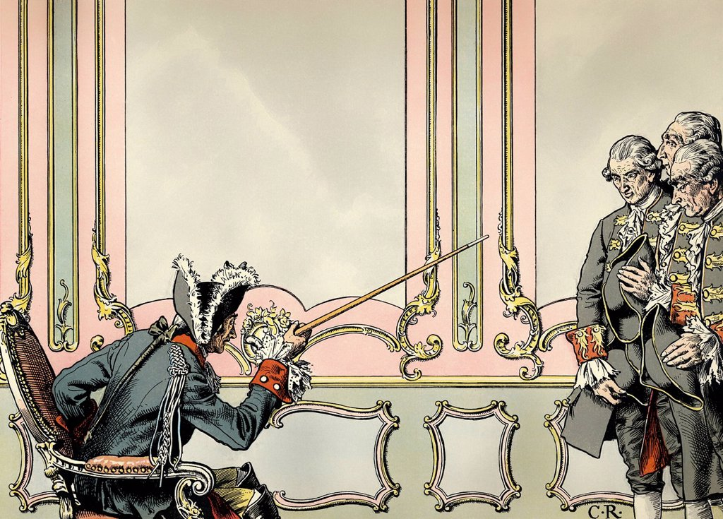The sentencing of the judges in the Mueller_Arnold case, 1779, by Frederick II or Frederick the Great, 1712 _ 1786, King of Prussia and Elector of Brandenburg from the royal house of Hohenzollern, historical painting from the 19th century : Stock Photo