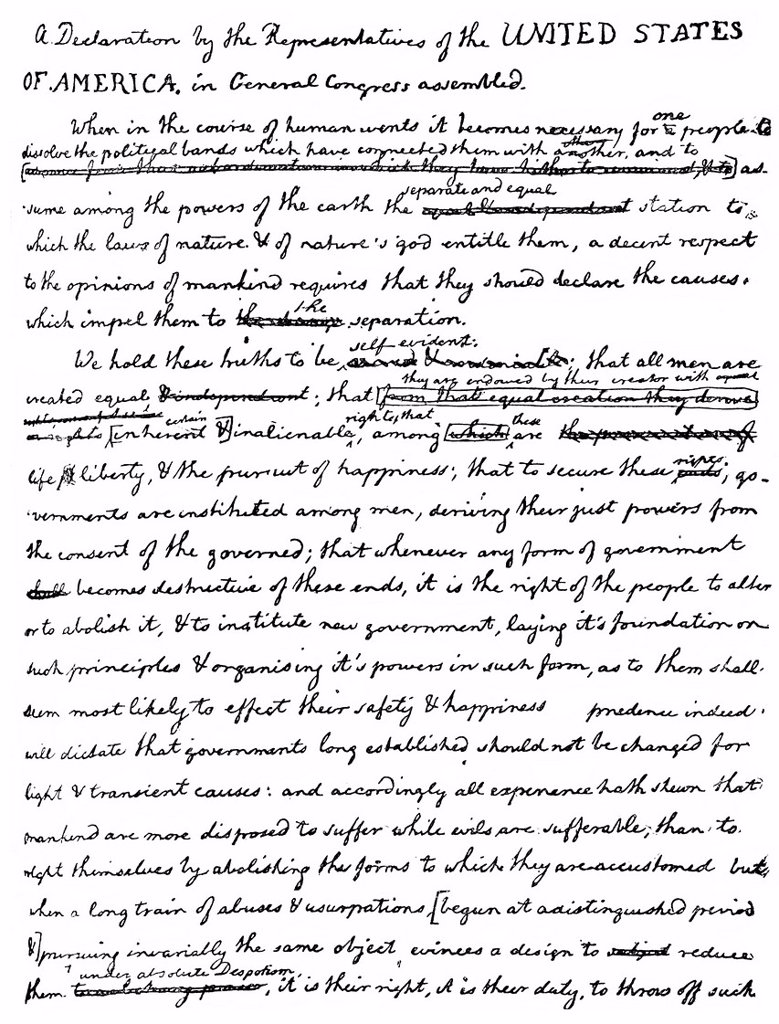 Stock Photo: 1848-616941 Facsimile of the draft of the Declaration of Independence of the United States of America or The Unanimous Declaration of The Thirteen United States of America in the handwriting of Thomas Jefferson with corrections by Benjamin Franklin, independence from. Facsimile of the draft of the Declaration of Independence of the United States of America or The Unanimous Declaration of The Thirteen United States of America in the handwriting of Thomas Jefferson with corrections by Benjamin Franklin, indep