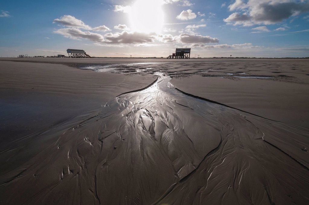 Beach of St. Peter_Ording in the morning sun, stilt houses at the back, North Sea, Schleswig_Holstein, Germany, Europe : Stock Photo