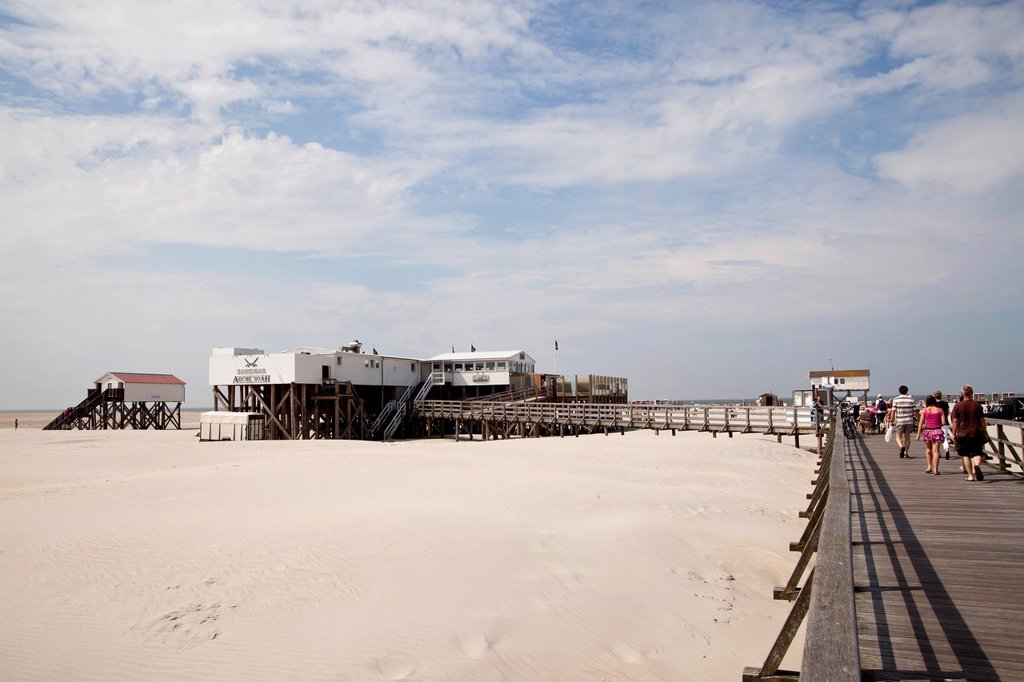 Stock Photo: 1848-616985 Arche Noah restaurant by the well known Sansibar chain and the pier in St. Peter_Ording, district of North Friesland, Schleswig_Holstein, Germany, Europe