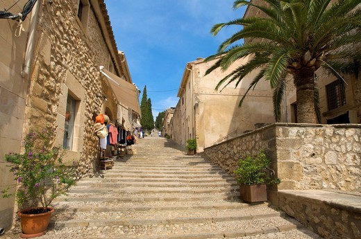 Stairs to the Calvary in Pollenca, Pollensa, Mallorca, Majorca, Balearic Islands, Spain, Europe : Stock Photo