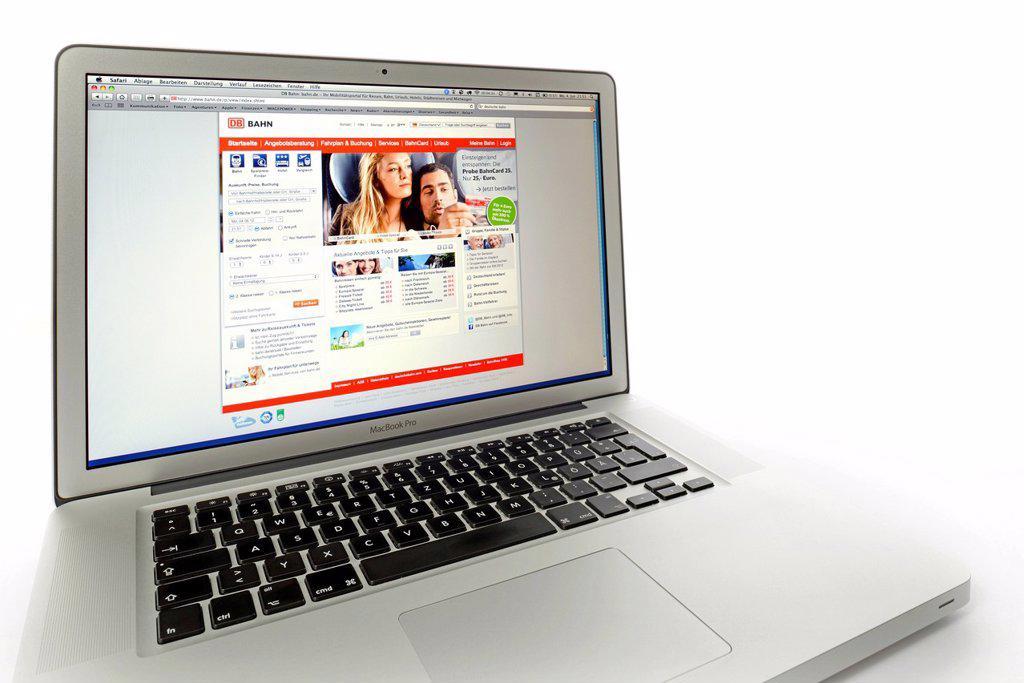 Stock Photo: 1848-617939 DB, Die Bahn, German train company, website displayed on the screen of an Apple MacBook Pro