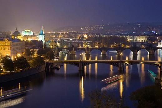 Stock Photo: 1848-6181 Bridges over Vltava Prague Czechia