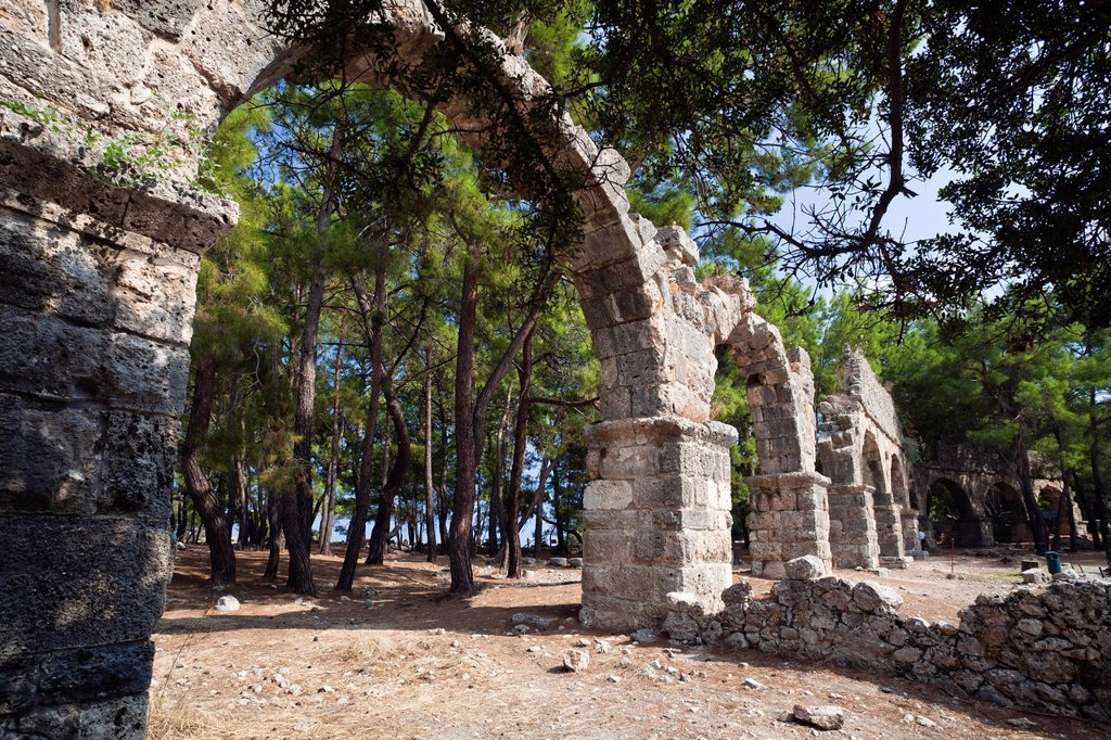 Aqueduct, ancient city of Phaselis, Lycia, Turkey, Asia Minor : Stock Photo