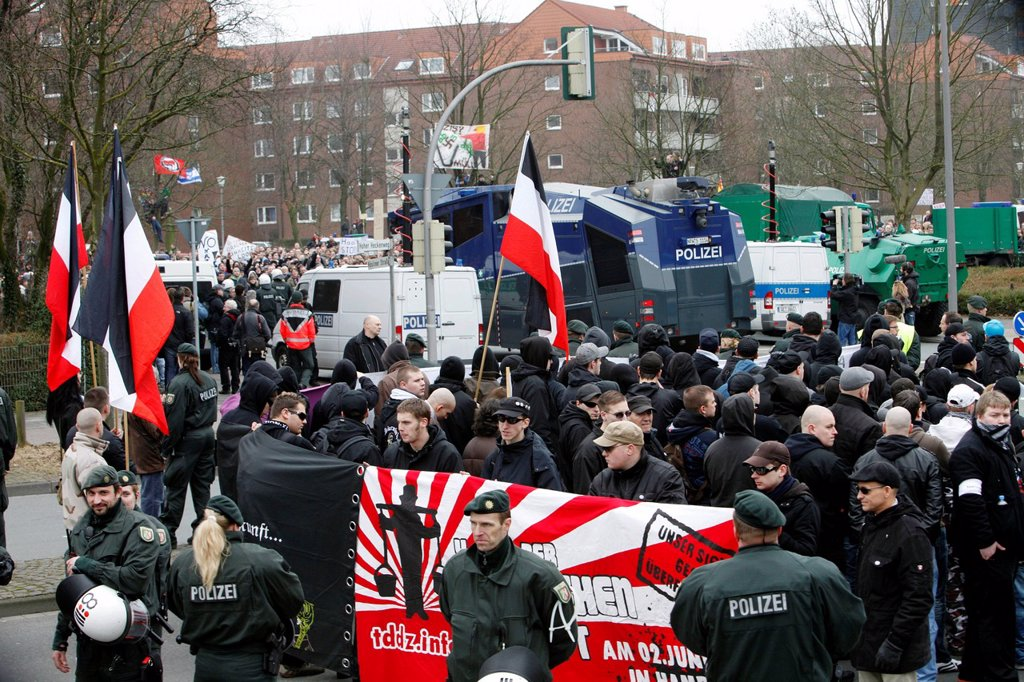 Stock Photo: 1848-618650 Demonstration, protest, against the gathering of right_wing groups, neo_Nazis, Muenster, Westphalia, North_Rhine Westphalia, Germany, Europe