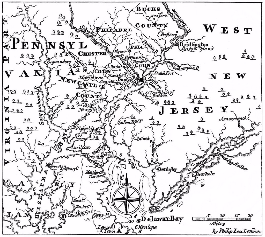 Stock Photo: 1848-618779 Historical drawing, US_American history, 17th century, a map of Pennsylvania and western New Jersey, around 1670