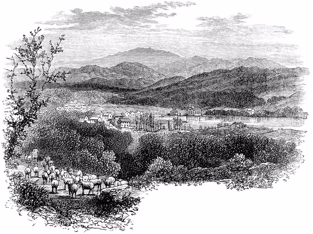 Stock Photo: 1848-618780 Historical drawing, US_American history, 17th century, view of New Hampshire, New England, USA, about 1680