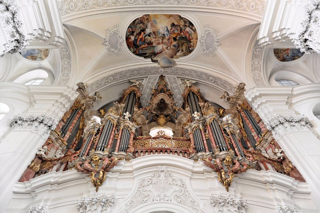 Gabler organ, the largest Baroque organ in Europe, Basilica of St. Martin in Weingarten, Baden_Wuerttemberg, Germany, Europe : Stock Photo