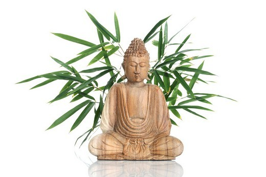 Buddha statue with bamboo : Stock Photo