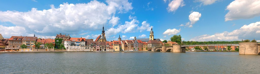Stock Photo: 1848-619184 Panoramic view, Main river with the Catholic parish church of St. Johannes, St. John, Kitzingen, Lower Franconia, Franconia, Bavaria, Germany, Europe
