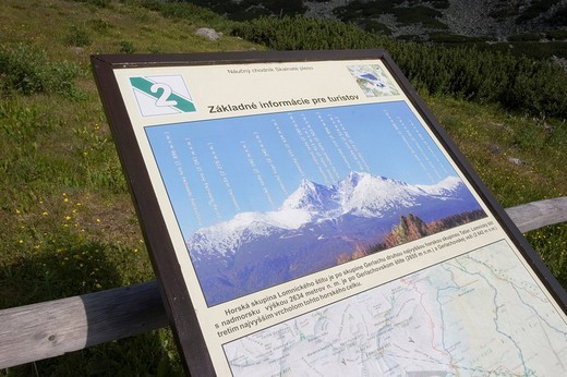 Information panel of the summits, Slovakia : Stock Photo