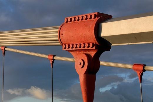 Steel cable fixing of a suspension bridge, Friedrich_Ebert_Bruecke, Duisburg, NRW, Germany : Stock Photo