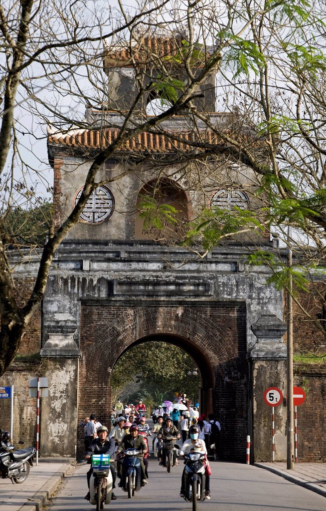 Outer ring with a gate, Citadel of Hue, Vietnam, Southeast Asia, Asia : Stock Photo