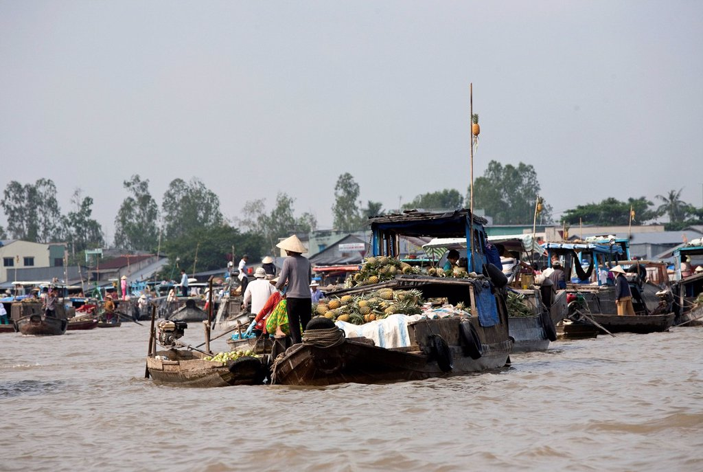 Stock Photo: 1848-619862 Floating market of Can Tho in the Mekong Delta, South Vietnam, Vietnam, Southeast Asia, Asia