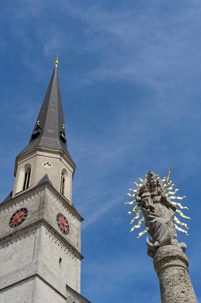 Mariae Geburt parish church, Palling, Chiemgau region, Upper Bavaria, Bavaria, Germany, Europe : Stock Photo