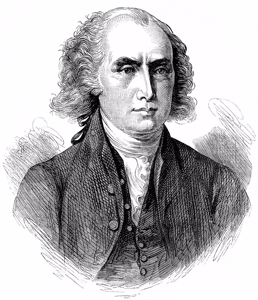 Historical drawing, US_American history, 18th century, portrait of James Madison, 1751 _ 1836, fourth President of the United States of America between 1809 and 1817 : Stock Photo