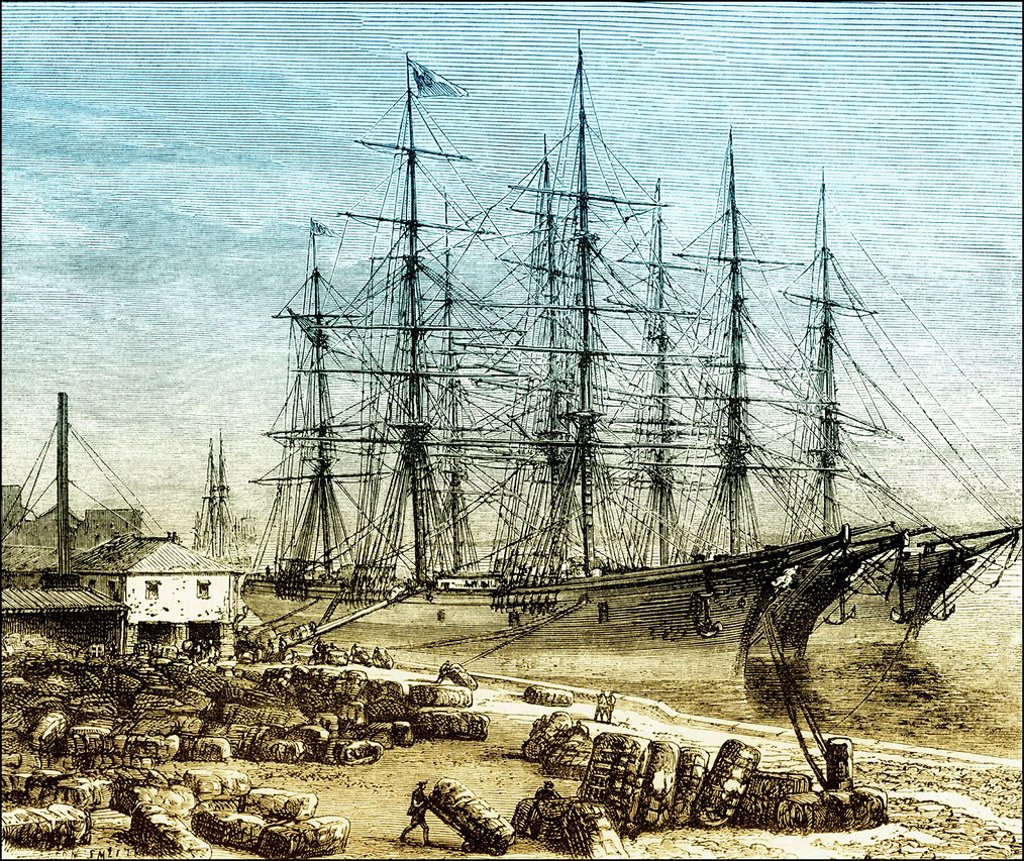 Historical drawing, US_American history, 19th century, cotton being loaded onto sailing ships in the port of Savannah, Chatham County, Georgia, USA, around 1860 : Stock Photo