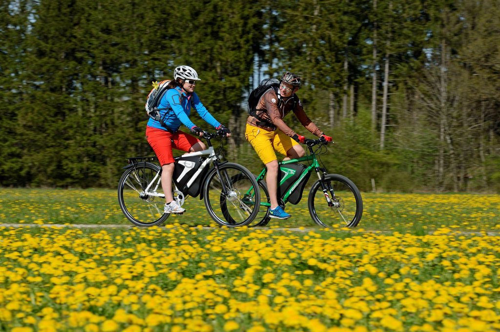 Cyclists on electric bicycles near Wiesmuehl, Chiemgau region, Upper Bavaria, Bavaria, Germany, Europe : Stock Photo