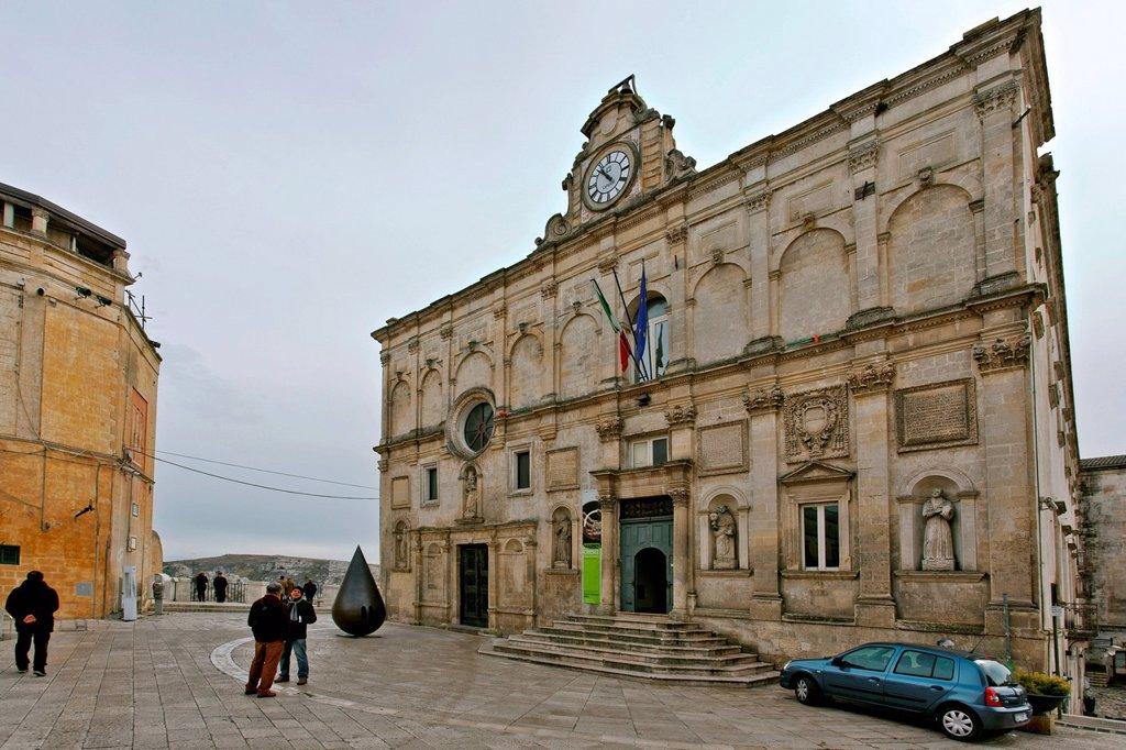 Palazzo Lanfranchi, 1668, architect Frate Francesco da Copertino, today National Museum of Medieval and Modern Art of Basilicata, Matera, Italy, Europe : Stock Photo