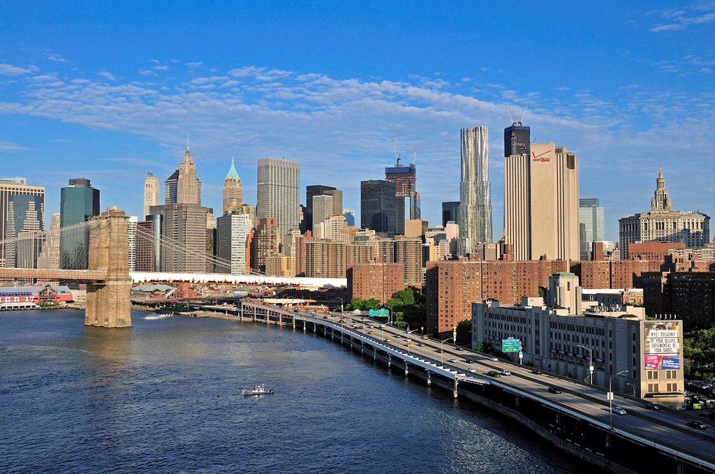 Stock Photo: 1848-620918 Skyline of Lower Manhattan and Brooklyn Bridge, view from Manhattan Bridge, Manhattan, New York City, USA, North America, America, PublicGround