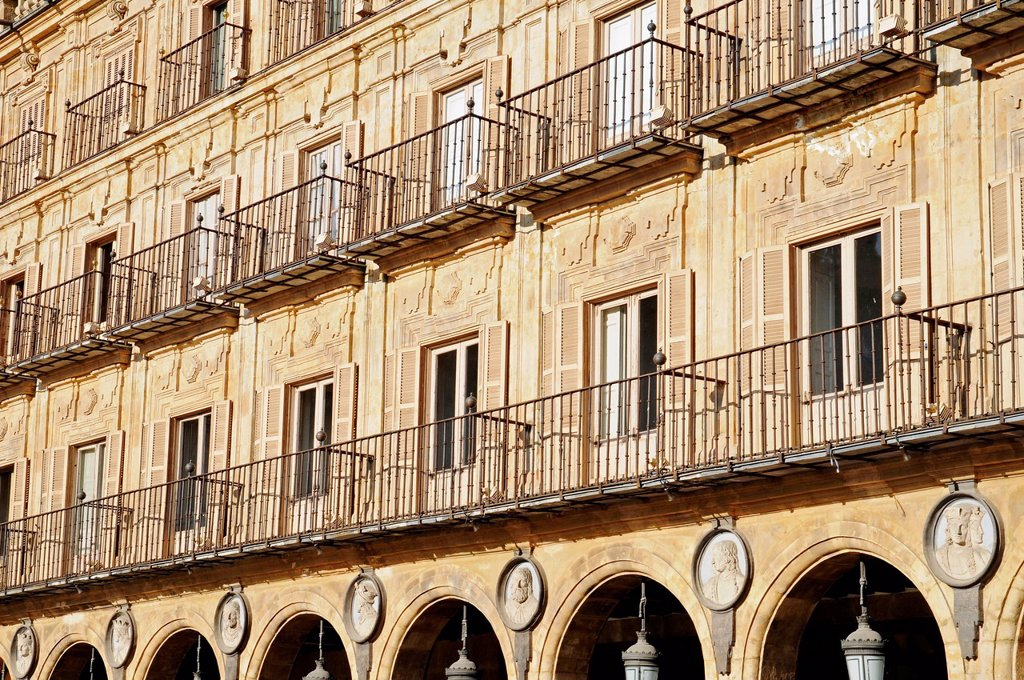 Stock Photo: 1848-620941 Facades, balconies, Plaza Mayor, Salamanca, Castile_Leon, Spain, Europe, PublicGround