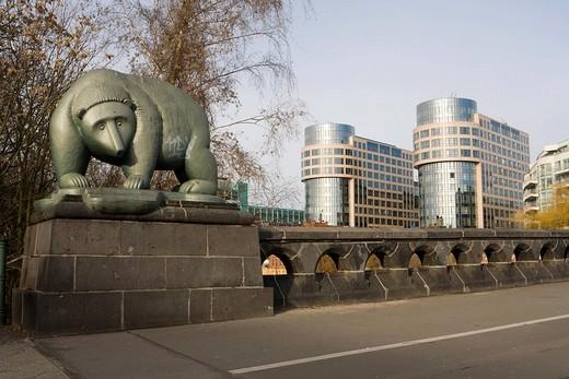 Stock Photo: 1848-62116 Berliner Baer on the Alt Moabiter Bruecke, Ministry of the interior, Berlin, Germany, Europe