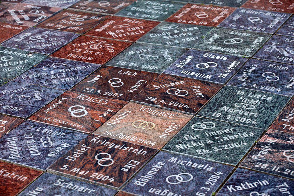 Tiles in memory of weddings at Cape Arkona, Mecklenburg_Western Pomerania, Germany, Europe : Stock Photo