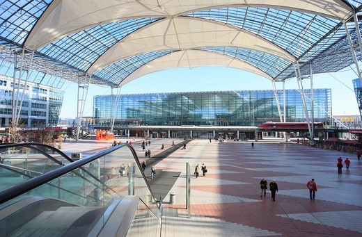 Stock Photo: 1848-62173 Area between Terminals 1 and 2 at Munich International Airport, Munich, Bavaria, Germany, Europe