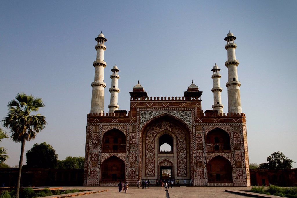 Gate at the Akbar´s Mausoleum, Agra, Rajasthan, India, Asia : Stock Photo