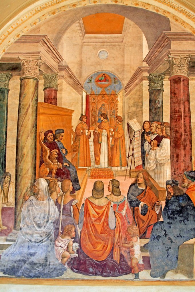 Fresco series depicting the life of St. Benedict, fresco by Sodoma, scene 33, Benedict providing absolution for excommunicated dead nuns, cloister of Abbazia di Monte Oliveto Maggiore Abbey, Tuscany, Italy, Europe : Stock Photo