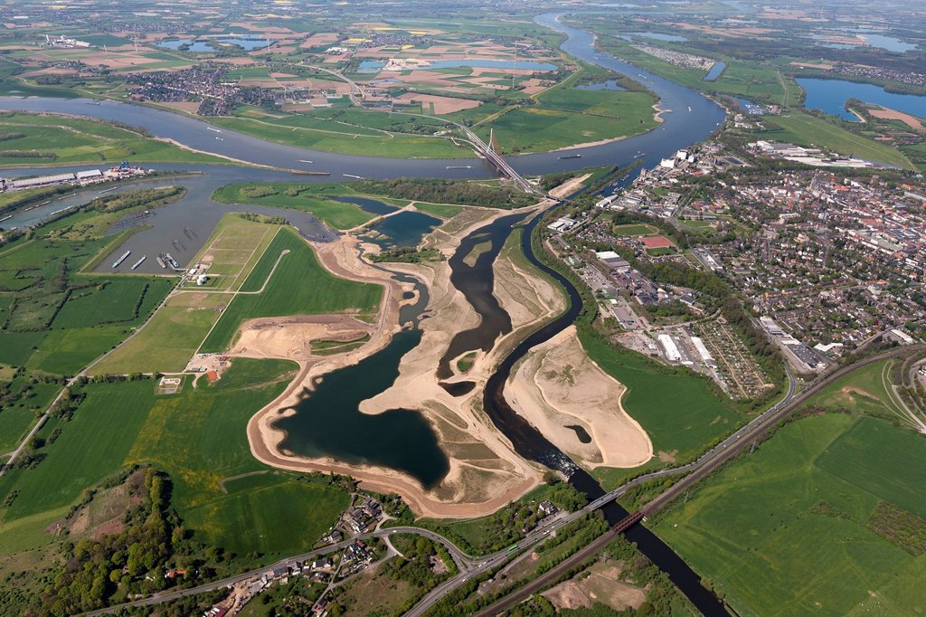 Stock Photo: 1848-622786 Aerial view, Lippe river, reconstruction of the mouth of the Lippe river, Stadthafen harbor in Wesel, tributary of the Rhine river, Rhine river, Wesel river, Lower Rhine region, North Rhine_Westphalia, Germany, Europe