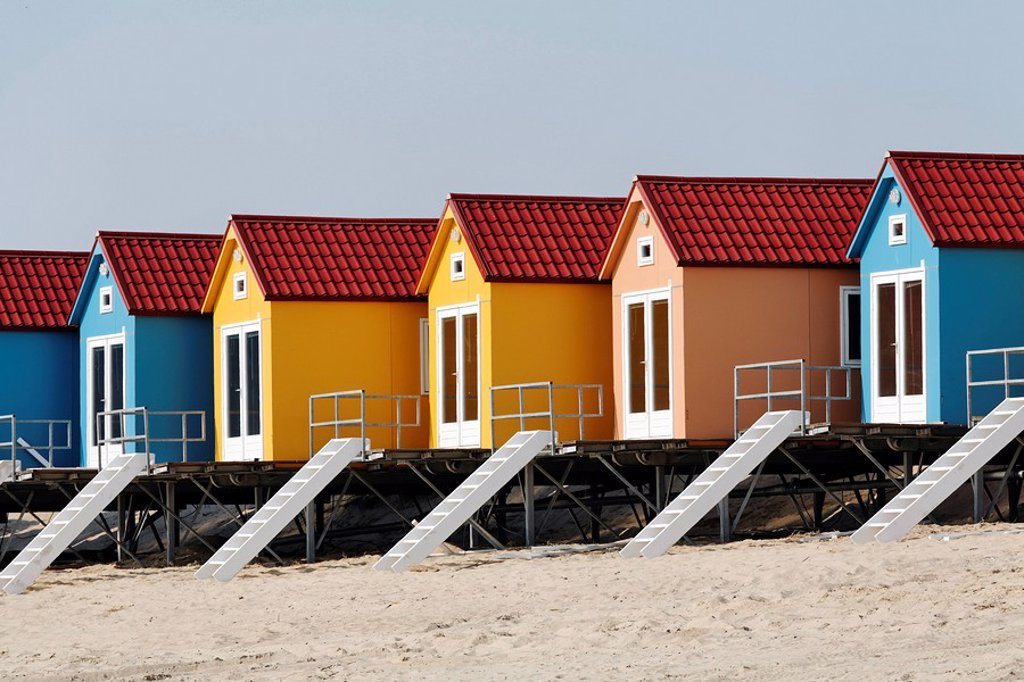 Colourful beach changing cabins, Vlissingen, Walcheren, Zeeland, Netherlands : Stock Photo
