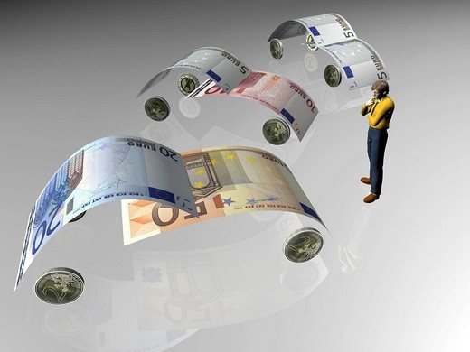 Banknotes in the shape of cars, symbolic image for car sales or buying a car illustration : Stock Photo
