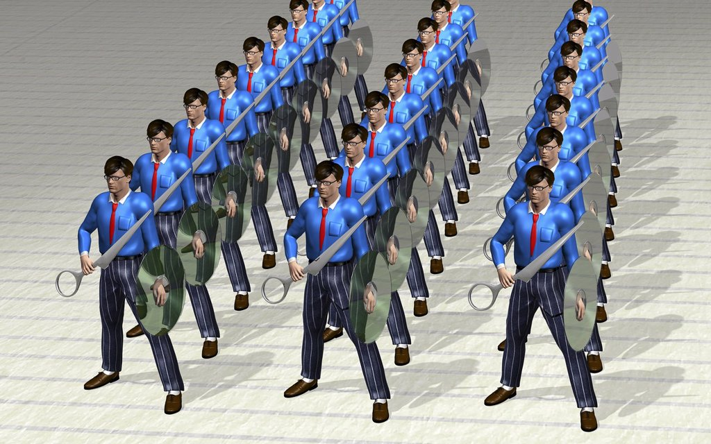 Employees as warriors with scissors and a CD as a shield, symbolic image for hostile takeover, illustration : Stock Photo