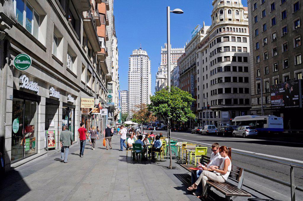 Stock Photo: 1848-623193 Gran Via, main street, Madrid, Spain, Europe, PublicGround