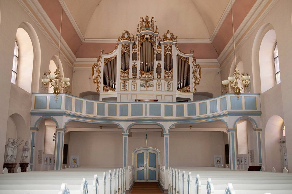 Stock Photo: 1848-623230 Interior view with the organ, Protestant Church, Bad Arolsen, Waldecker Land region, Hesse, Germany, Europe