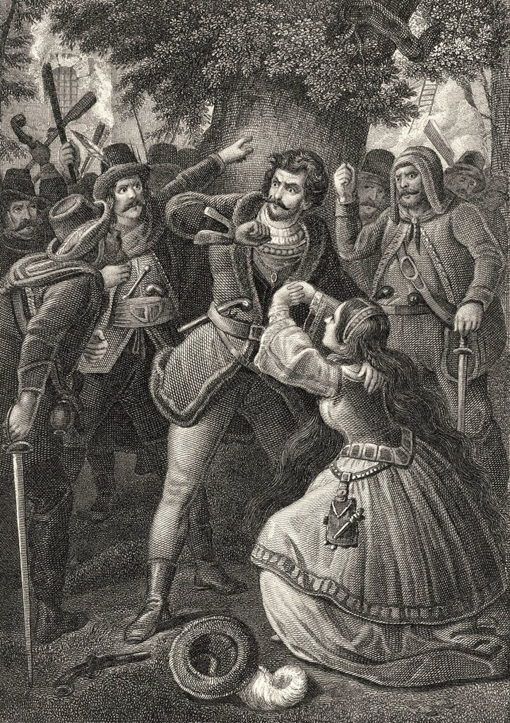 Stock Photo: 1848-624108 Historic steel engraving by Johann Baptist Wilhelm Adolf Sonderland, 1805 _ 1878, a German illustrator, scene from The Robbers, a drama by Johann Christoph Friedrich von Schiller