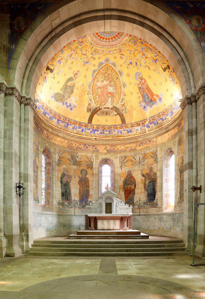 St. Johanniskirche, St. John´s Church, frescoes in the sanctuary by Carl Dehner, Schwaebisch Gmuend, Baden_Wuerttemberg, Germany, Europe : Stock Photo