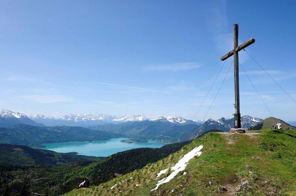 Summit of Mt Hischkopfhoernl near Jachenau, Walchensee Lake at back, Toelzer Land region, Isarwinkel region, Upper Bavaria, Bavaria, Germany, Europe, PublicGround : Stock Photo